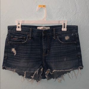 Hollister destroyed denim shorts